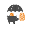 Graphic of a piggy bank being sheltered by an umbrella